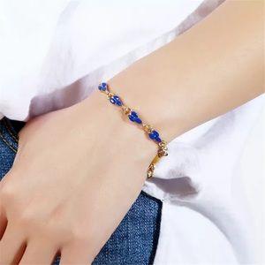 ❤️gorgeous Roman blue flower resins gold bracelet